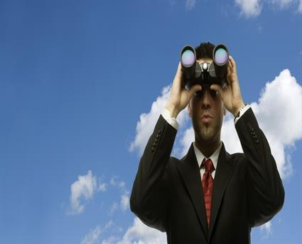 binoculars businessman
